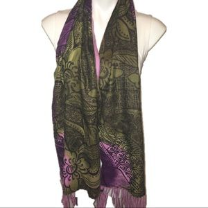 Nordstrom cashmere scarf floral boho designer